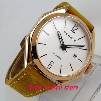 PARNIS 43MM gold mechanical auto watch men waterproof leather bracelet stainless steel white dial date sapphire MIYOTA wrist