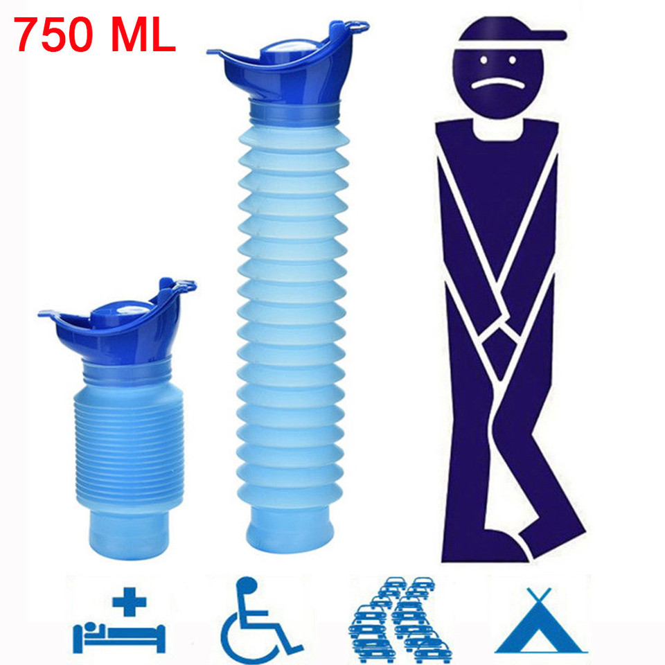 Portable Toilet Bottle Outdoor Travel Camping Stand Urinal Pee Shrinkable Personal Mobile Toilet Potty Pee Bottle for Kids Adult 750 ML