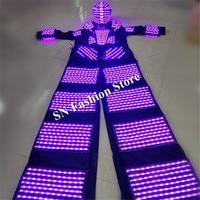 L102 Mens robot dance costumes led ballroom luminous light bar wears dj glowing helmet stilts robot clothing lighted party show