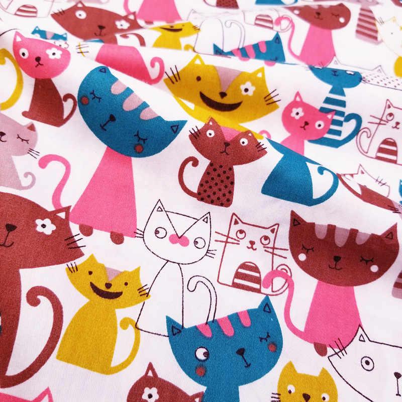 100% tkanina bawełniana typu diagonal drukowane kolorowe koty bawełniany patchwork tkaniny, DIY szycia pikowanie grube ćwiartki materiału dla dziecka i dziecka