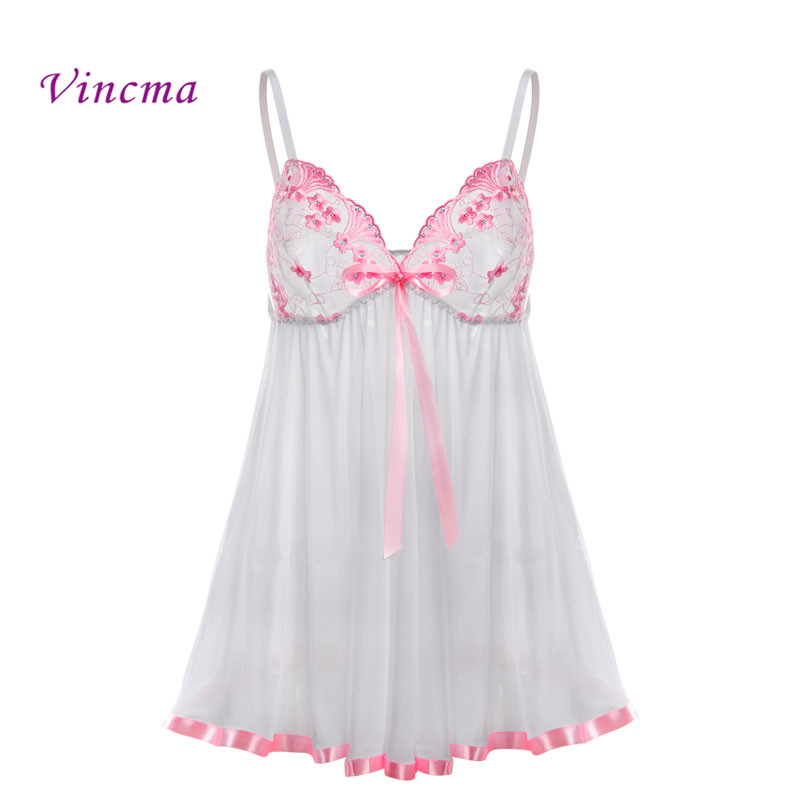 S- <font><b>6XL</b></font> Plus Size Women Embroidery Bra Bow Pink Lace Dress Underwear Hot Sexy <font><b>Lingerie</b></font> Babydolls Transparent Dress Exotic Apparel image