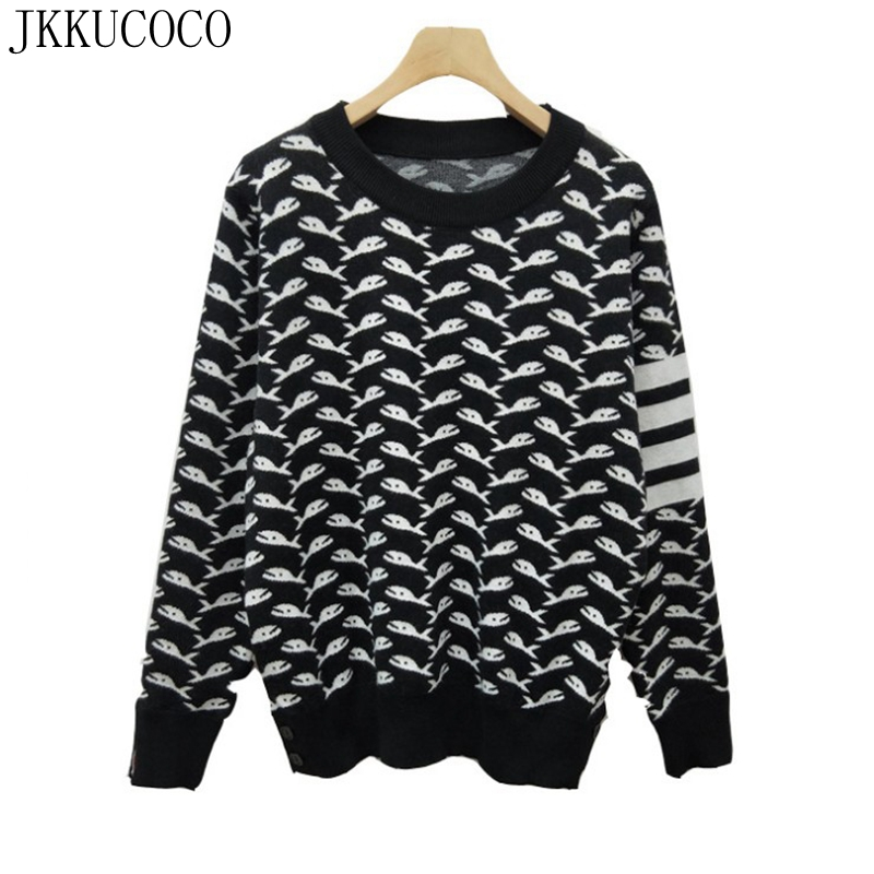 JKKUCOCO 2018 Europe Knitted Cartoon Shark Cotton Wool sweaters Women O neck Pullover sweater Knitted Warm