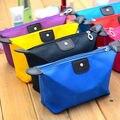 9 Colores de Nylon Bolsa de Cosméticos Para Mujeres Viajan Bolsa de Embrague Sólida de Almacenamiento Maquillaje Organizador Del Bolso Con Cremallera