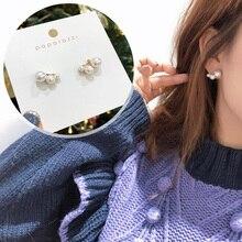Stud-Earrings Boucle MENGJIQIAO Gifts Pearl Trendy Small Women Fashion New Korean