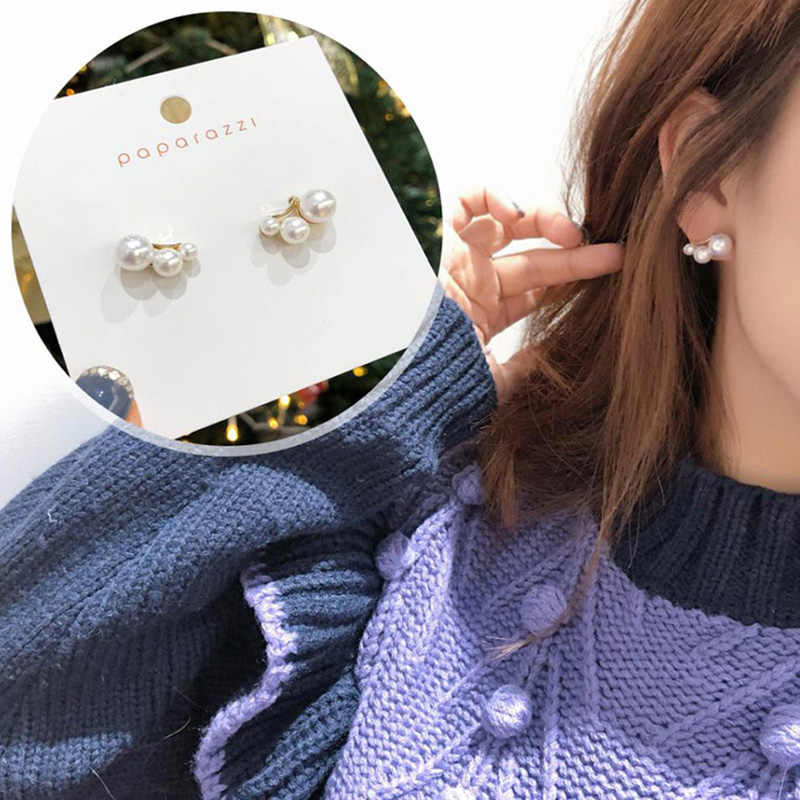 MENGJIQIAO 2019 Korean New Trendy Simulated Pearl Small Stud Earrings For Women Fashion Arc Shape Elegant Boucle D'oreille Gifts