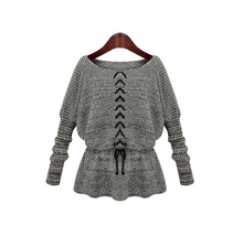 Europe Celebrity Long Sleeve Sweater High Quality Waist String Knitwear Pullovers Tops KD1341