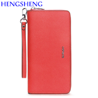 Hengsheng promotion red women wallet for fashion ladies cash purse wallet women long wallet by genuine leather female wallets