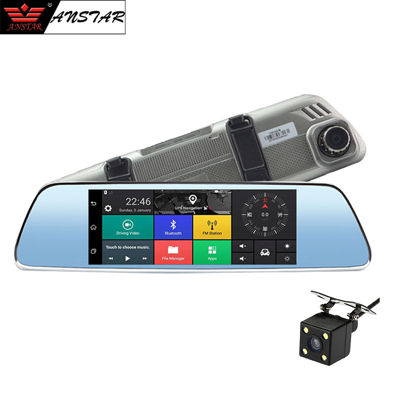 ANSTAR 7'' 3G Android Rear View Mirror Car Camera GPS WIFI Car DVR Dual Lens Night Vision Video Recorder Registrar Dash Cam цена 2017