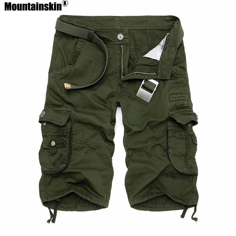 Mountainskin Summer Men's Camo Cargo Shorts Cotton Military Camouflage Male Jogger Board Shorts Men Brand Clothing SA495