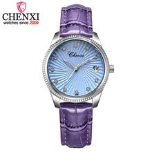 CHENXI Purple Leather Band Ladies Quartz Watch Clock for Lov