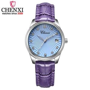 CHENXI Purple Leather Band Ladies Quartz