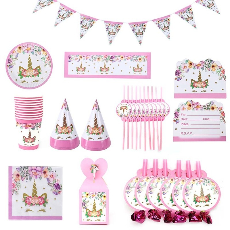 Bulk Cute Unicorn Theme Party Sets Disposable Dishware Decoration Cartoon for Anniversary Kids Birthday