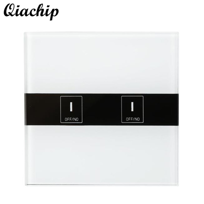 QIACHIP EU Plug AC 90-250V 2 Gang Tempered Glass WIFI Remote Control Touch Switch Wall Panel Smart Home Work With Amazon Alexa ac 250v 20a normal close 60c temperature control switch bimetal thermostat