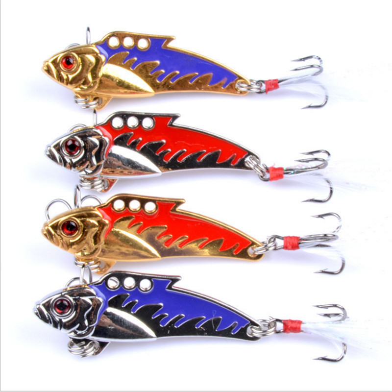 1 PCS Metal VIB Sequins 8g/5cm Fishing Lure Bait Vibration Spinner Spoon Lure Lifelike Hard Baits with Feather Bass Fishing Tool 1pcs spoon fishing lure 10cm 17g hard fishing spoon lure metal jigging lure baits spinner bait carp fishing tackle