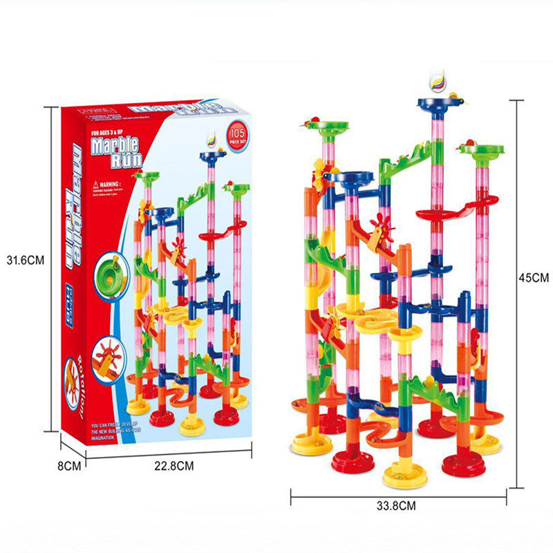 2016 New DIY Construction Building Block Toys Marble Run Maze Ball Trail Block Roller Coaster Plastic Educational Toys Kids Gift new spacerail new level 2 232 3 5600mm time machine diy spacewarp erector set model building kit roller coaster educational toys