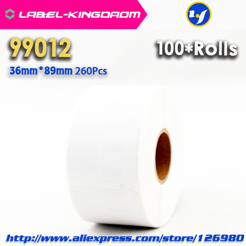 100 Rolls Dymo Compatible 99012 Label 36mm 89mm 260Pcs Roll Compatible for LabelWriter400 450 450Turbo Printer