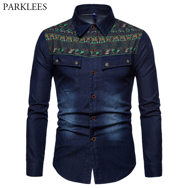 Fashion Ethnic Print Jeans Shirt Men 2018 Brand New Slim Fit Long Sleeve Social Denim Shirt Men Streetwear Tops Camisa Hombre