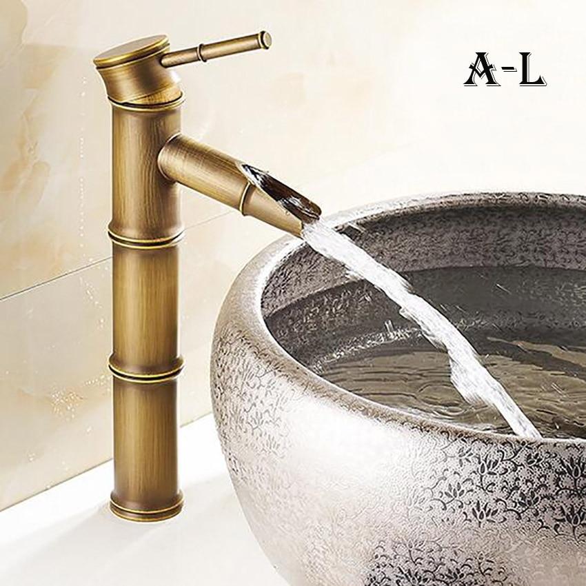 Европейский античный кран для ванной комнаты, латунный кран для раковины, высокий бамбуковый кран для горячей и холодной воды с двумя трубами, кухонный уличный садовый кран - Цвет: A-L