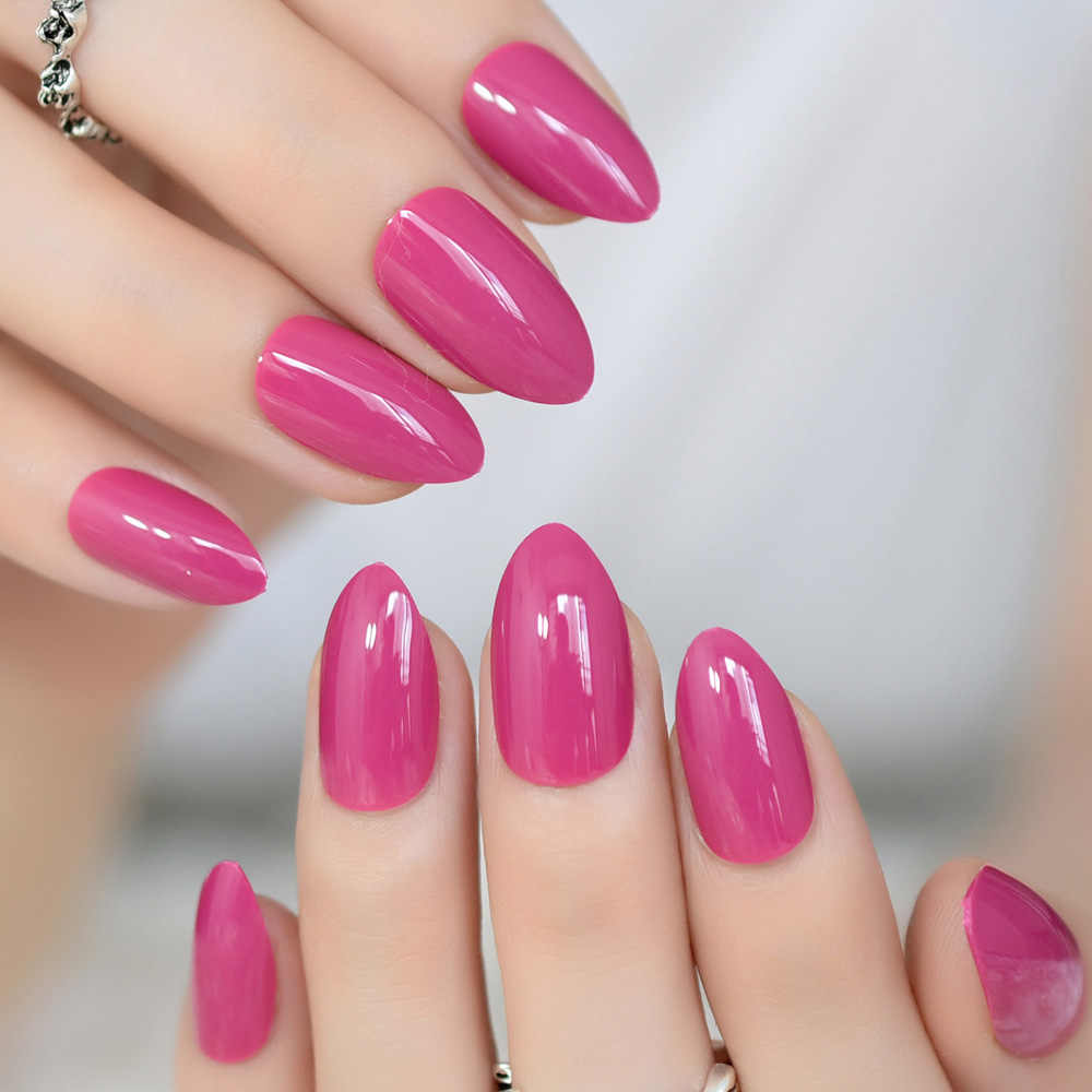 False Nails Almond Oval Sharp Medium Violet Red Fake Nails Stiletto Pink Rose Pointed Full Cover UV Gel Daily Wear Nail Art Tips