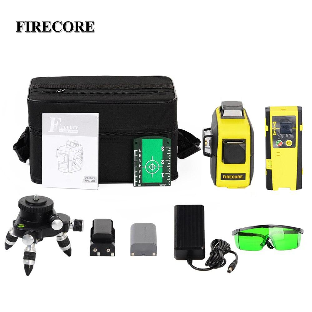 FIRECORE 12 Linhas 3D F93T-XR F93T-XG Vermelho/Verde Laser Level + Receptor/L-Suporte/3 M tripé