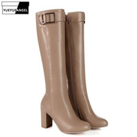 2019 Winter PU Leather Woman Knee High Shoes Block High Heel Knight Boots Zipper Metal Buckle Botas Mujer Apricot Black Brown
