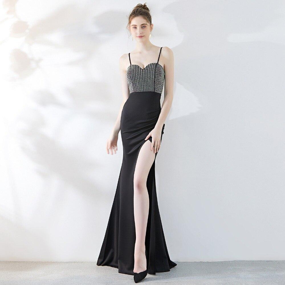 Luxe rétro strass diamant moulante robes femmes haute fente Spaghetti sangle robes Sexy col en V Club célébrité robe de soirée