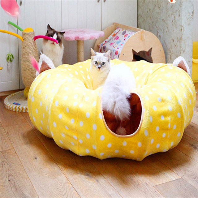 Christmas Pet Tunnel Cat Beds House and Sleep with Ball Cat Play Tunnel Funny Cat Long Tunnel Play Toy Collapsible Bulk Dropship