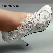 Round Toe White lace Flower shoes women's Pumps Fashion Bridesmaid Dress shoes Bride wedding shoes Big size 34-42 Party shoes white lace flower bride dress shoes pointed toe stiletto middle heel wedding party shoes with ankle strap bridesmaid pumps
