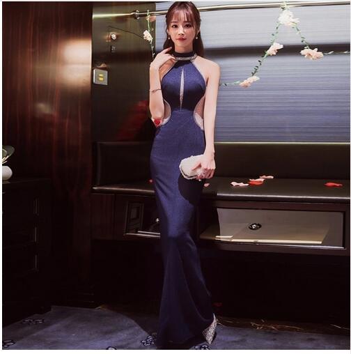 Blue Long Cheongsam Design Sexy Modern Qipao Traditional Evening Gown Korean Classic Women Dress Formal Party Dresses Oriental