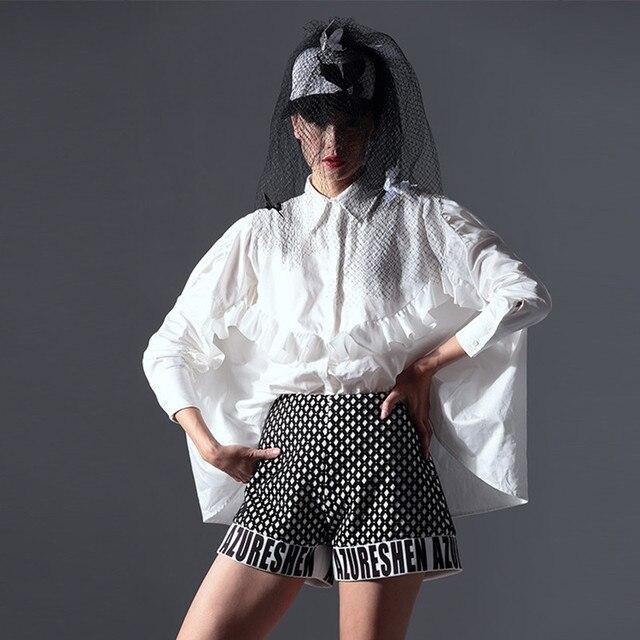 Женщины Весной И Летом Блузка Оригинальный Дизайн Элегантный Поворот Вниз Воротник Нерегулярные Хлопок Белая Рубашка Женская Мода Стиль AZ12