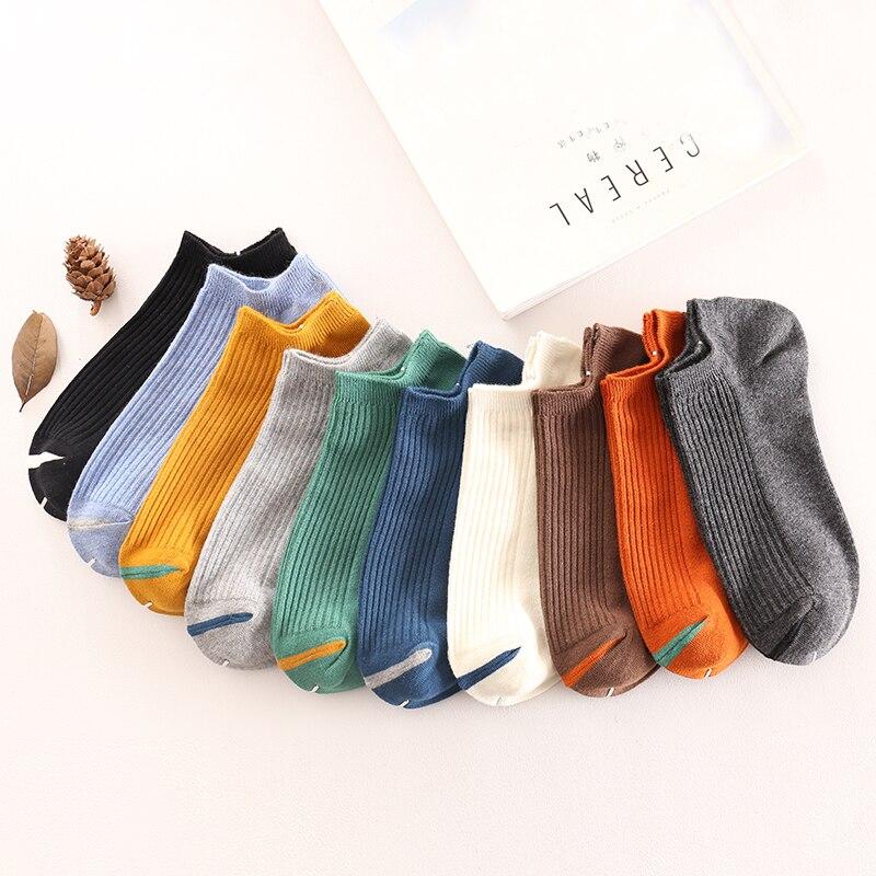 7 pair 10 colors Men Ankle   Socks   Cotton Male Short   Sock   Colorful Breathable Slippers Short Ankle   Socks