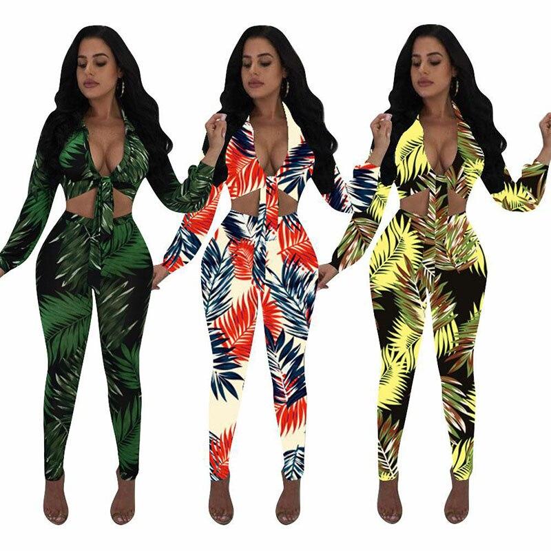 Bodycon Clubwear Jumpsuit 2pcs Floral Printed Rompers Women Jumpsuit Sexy V-Neck Front Lace Up Crop Top & Long Pants Long Pants