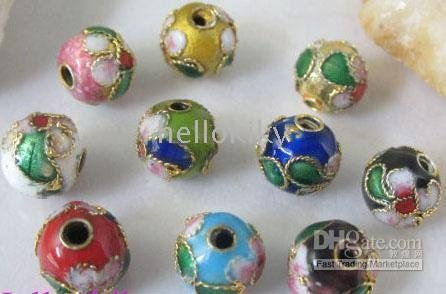 600PCS Mixed colour cloisonne enamel round beads 8mm M511