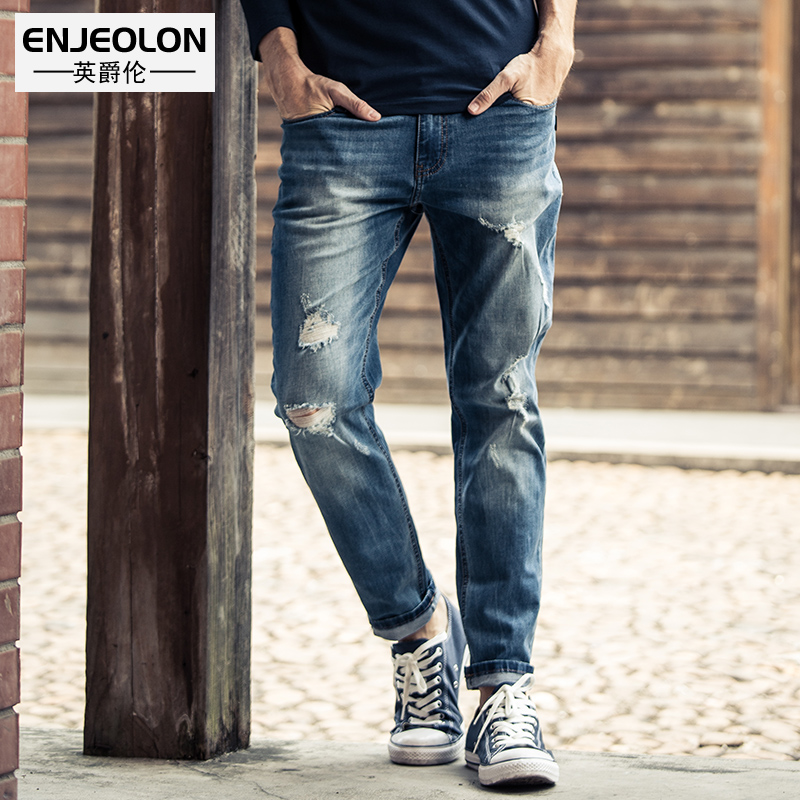 Enjeolon Brand Top Quality Jeans Men Long Full Length Trousers Pants Slim Straight Jeans Males Hole Solid Pants NZ026