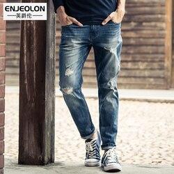 Enjeolon merk top kwaliteit jeans mannen lange full length broek broek Slanke Rechte jeans mannetjes gat effen Broek NZ026