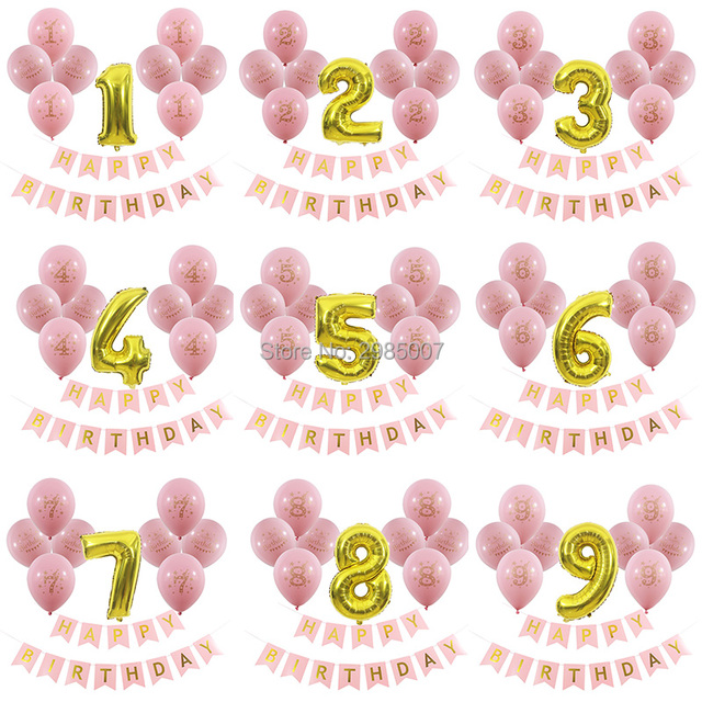 1st 2nd 3rd 4th 5th 6th 7th 8th 9th Birthday Party Balloons Happy Banners Pink