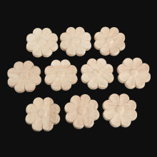10Pcs 4/5/6cm Floral Wood Carved Decal Corner Appliques Wall Furniture Woodcarving Decorative Wooden Figurines Crafts Home Decor