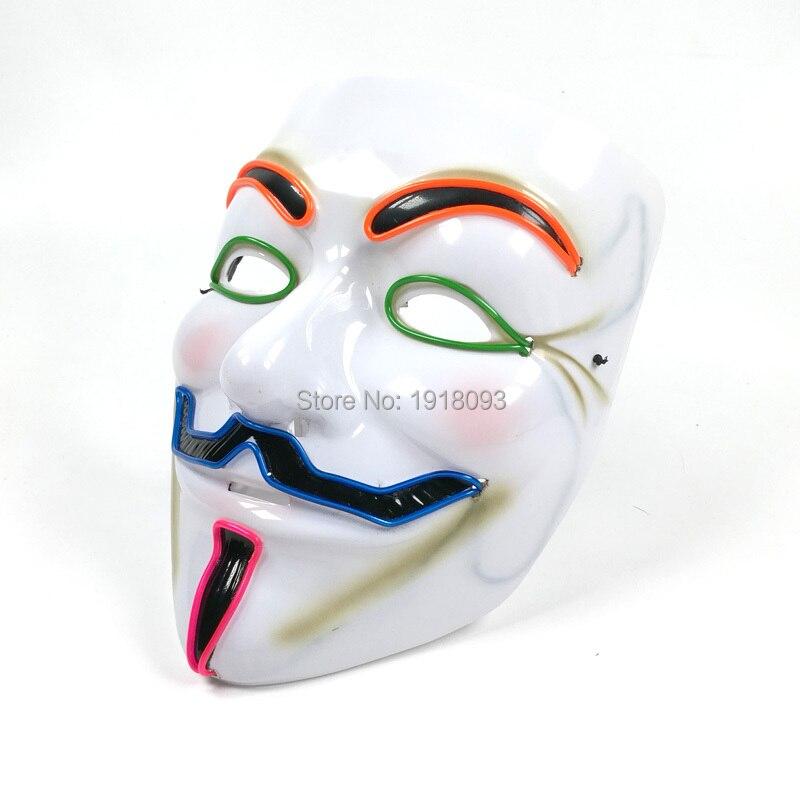 2019 Hot 6 Style Optional Sound Active LED Mask EL Mask Vendetta Mask Novelty Lighting Mask Gift For Halloween,Party,Night CLub