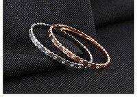 Fashion OL Style Cubic Zircon Round Bangles Bracelets For Women Silver Rose Gold Color Femme Bracelet
