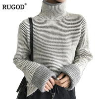 RUGOD Fashion Striped Women Sweaters Long Sleeve Turtleneck Cashmere Sweater Casual Knitted Cotton Sweater Female Winter