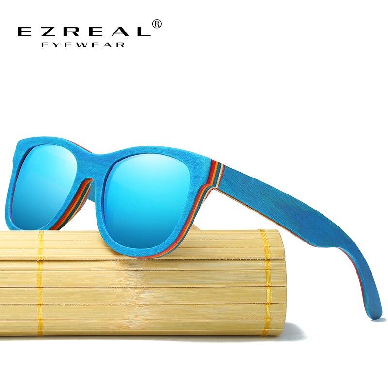 EZREAL Skateboard Hölzerne Sonnenbrille Blau Rahmen Mit Beschichtung Gespiegelt Bambus Sonnenbrille UV 400 Schutz Linsen in Holzkiste