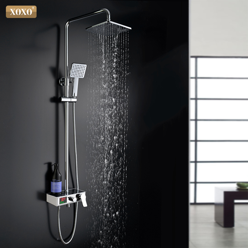 XOXO luxury shower water dynamic digital intelligent display and shower faucet The led shower faucet set