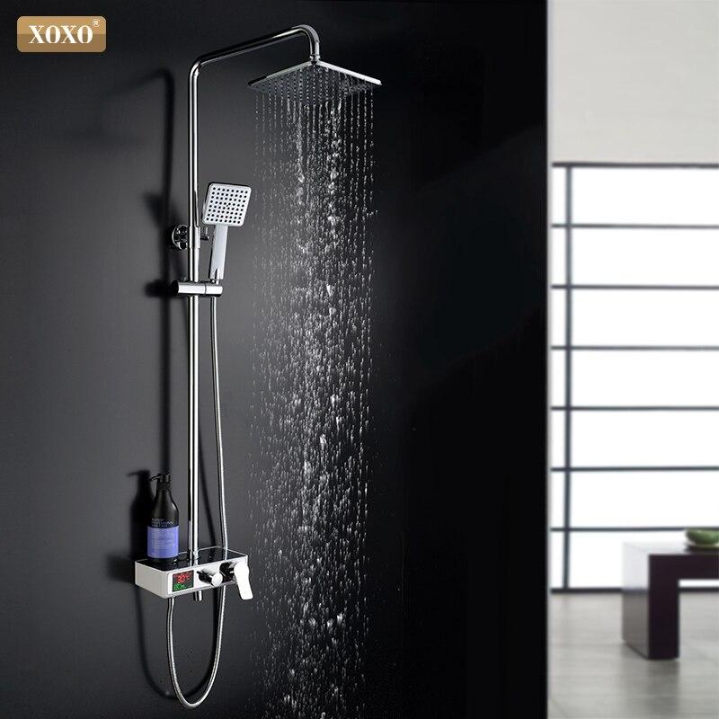 XOXO de luxe douche d'eau dynamique numérique intelligent affichage et Le robinet de douche robinet led robinet de douche ensemble Salle De Bains Mélangeur 88010