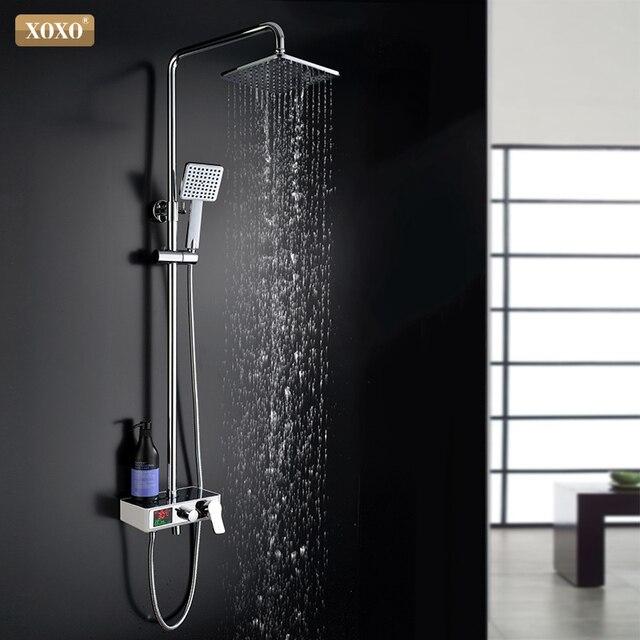 XOXO ducha de lujo con pantalla inteligente digital dinámica de agua, grifo de ducha con led, juego de grifería Mezclador de Baño, 88010