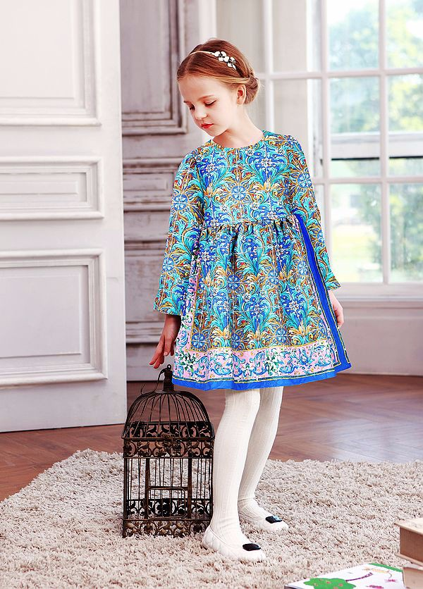 WL MONSOON Girls Winter Dress 2015 Brand Princess Dress for Girls Clothes Printed Long Sleeve Girls Dresses Kids Clothes