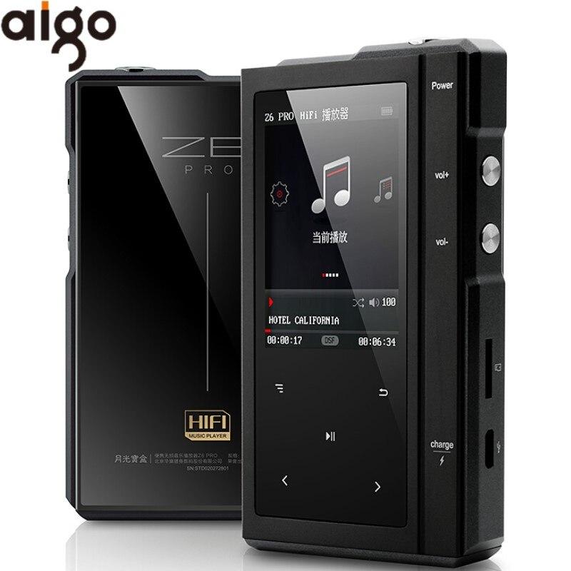 Maanlicht AIGO Z6PRO Hard DSD256 MP3 Speler ES90018Q2C DAC Hifi Muziek Speler Dual Core CPU Met Lederen Case ondersteuning 64bit/384KH-in HIFI Spelers van Consumentenelektronica op  Groep 1