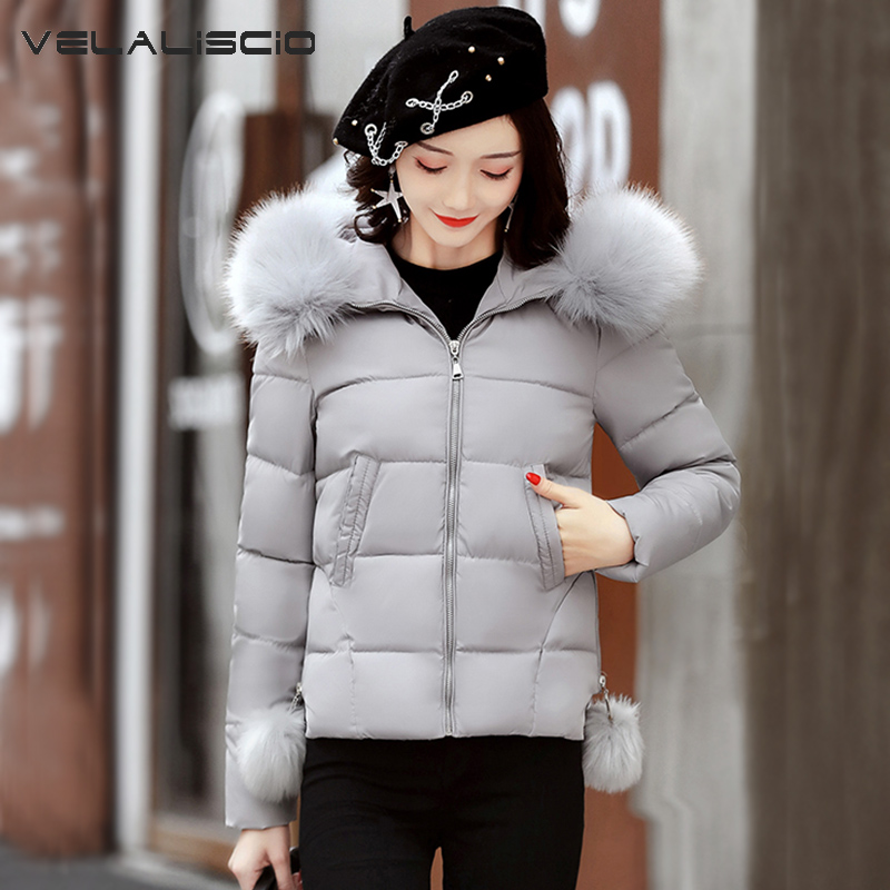 VELALISCIO 2017 Autumn And Winter New Cotton Fur Collar Hooded Leisure Warm Down Feathers Women Slim Cotton Coat fur and feathers