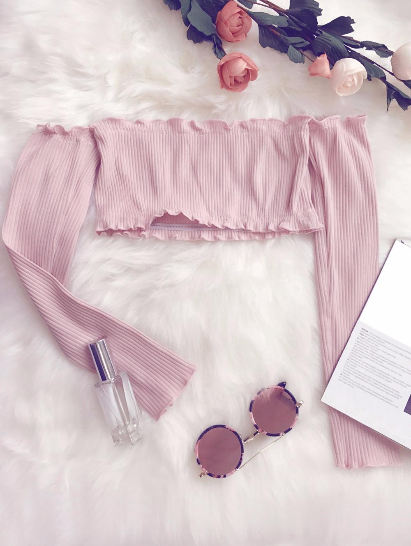 HTB1aa35RpXXXXbsXpXXq6xXFXXXN - Frilled Off The Shoulder Crop Top Summer Floral Knitted Female Tops JKP006
