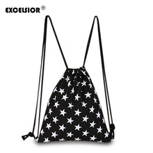 EXCELSIOR 2018 New Fashion Women Canvas Backpack Star Striped Drawstring  Sackpack Mochila Bucket Feminina Sack Beach Bag 1c69604bd7423