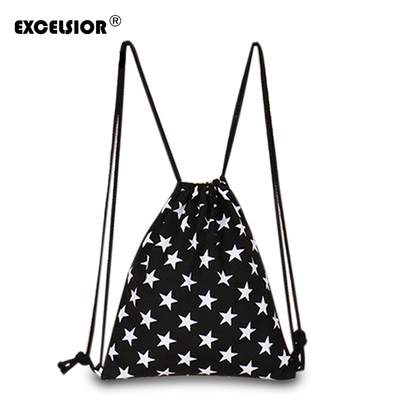 EXCELSIOR 2018 New Fashion Women Canvas Backpack Star Striped Drawstring Sackpack Mochila Bucket Feminina Sack Beach Bag striped drawstring wrap around makeup bag
